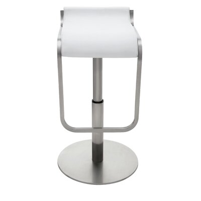 Adora Adjustable Height Bar Stool Upholstery: White