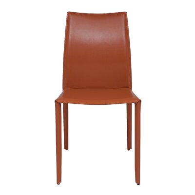 Sienna Genuine Leather Upholstered Dining Chair Upholstery: Ochre