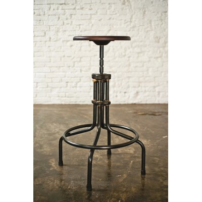 Adjustable Height Bar Stool Upholstery: Seared Oak