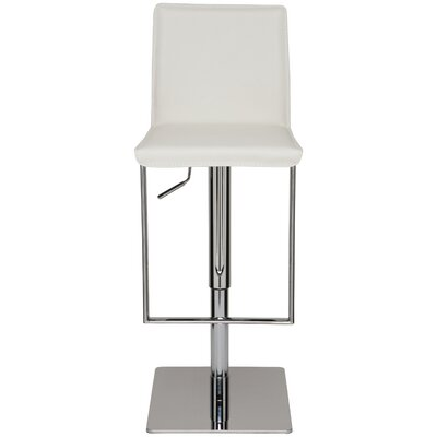 Cameron Adjustable Height Swivel Bar Stool Upholstery: White