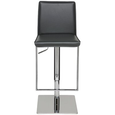 Cameron Adjustable Height Swivel Bar Stool Upholstery: Grey