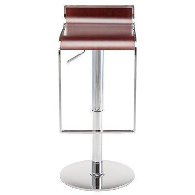 Nero Adjustable Height Swivel Bar Stool Upholstery: Dark Wood
