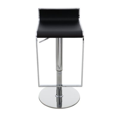 Alexander Adjustable Height Swivel Bar Stool Upholstery: Black