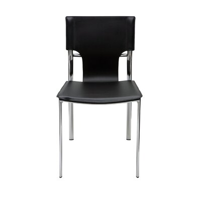 Lisbon Genuine Leather Upholstered Dining Chair Upholstery: Black