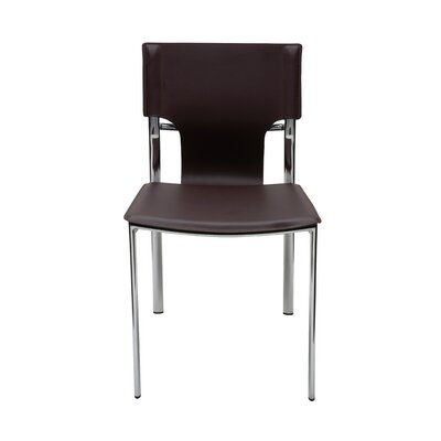 Lisbon Genuine Leather Upholstered Dining Chair Upholstery: Chocolate