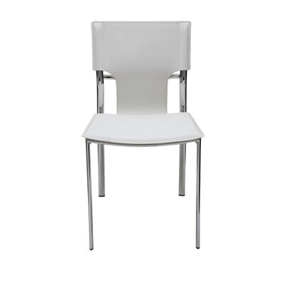 Lisbon Genuine Leather Upholstered Dining Chair Upholstery: White