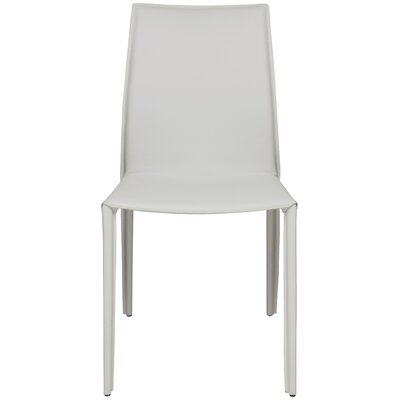 Sienna Genuine Leather Upholstered Dining Chair Upholstery: White