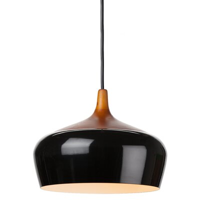 Liam 1-Light Bowl Pendant Shade Color: Black, Size: 12.75 H x 17.75 W x 17.75 D