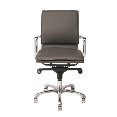 Carlo Low Back Office Chair with Arms Upholstery Dark Grey