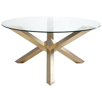Costa Dining Table Base Finish: Brushed Stainless Steel Base With Gold Plating