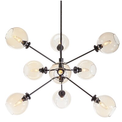 Atom 9 Light Pendant Shade Color: Champagne