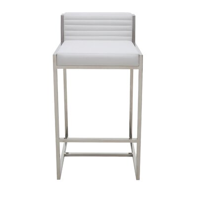 Zola 26 Bar Stool Upholstery: White