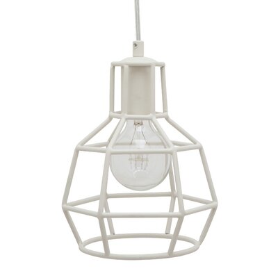 Cage 1-Light Foyer Pendant Finish: Matte White