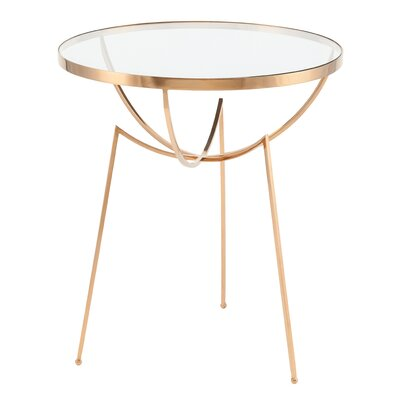 Areille End Table Color: Polished Stainless Steel with Brass Vacume Plating