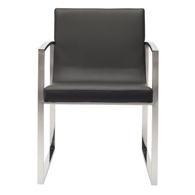 Clara Arm Chair Finish: Polished Stainless Steel, Upholstery: Black