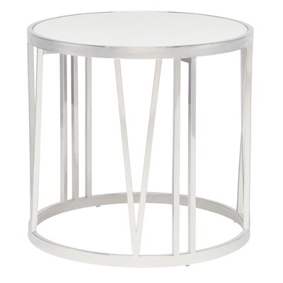 Roman End Table Color: White / Polished�Stainless Steel
