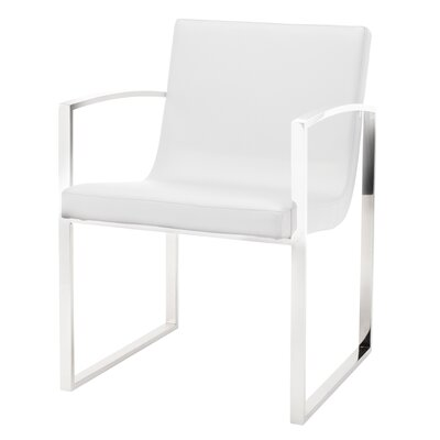 Clara Arm Chair Finish: Polished Stainless Steel, Upholstery: White