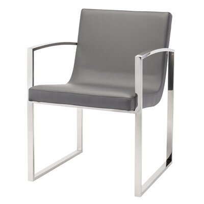Clara Arm Chair Finish: Polished Stainless Steel, Upholstery: Gray