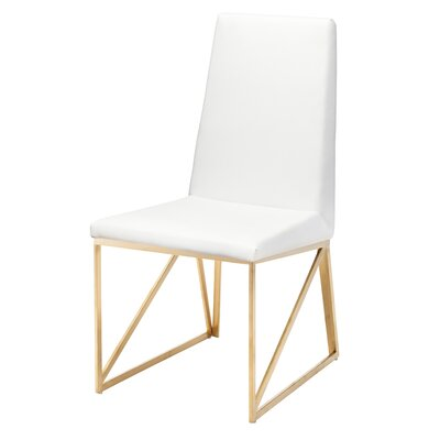 Caprice Side Chair Finish: Brushed Stainless Steel with Gold Vacume Plating, Upholstery: White