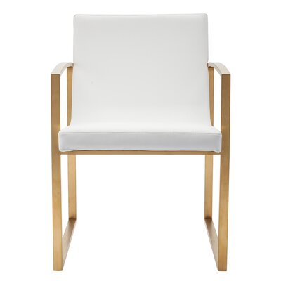 Clara Arm Chair Finish: Brushed Stainless Steel with Gold Vacume Plating, Upholstery: White