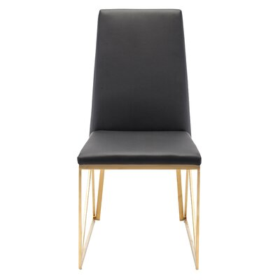 Caprice Side Chair Finish: Brushed Stainless Steel with Gold Vacume Plating, Upholstery: Black