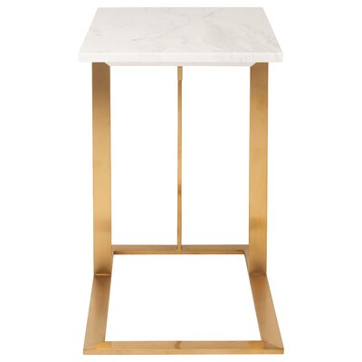 Dell End Table Finish: White Marble, Base FInish: Gold