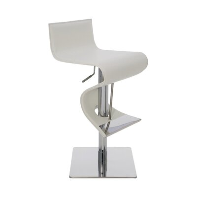 Portland Adjustable Height Bar Stool Upholstery: White