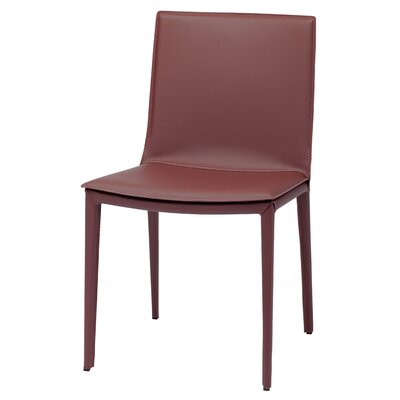 Palma Genuine Leather Upholstered Dining Chair Finish: Bordeaux