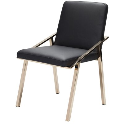 Nika Upholstered Dining Chair Upholstery Color: Black, Frame Color: Rose Gold Stainless Steel