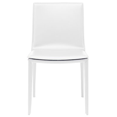 Palma Genuine Leather Upholstered Dining Chair Finish: White