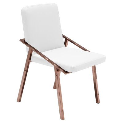 Nika Upholstered Dining Chair Upholstery Color: White, Frame Color: Rose Gold Stainless Steel