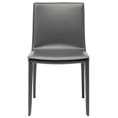 Palma Genuine Leather Upholstered Dining Chair Finish: Grey