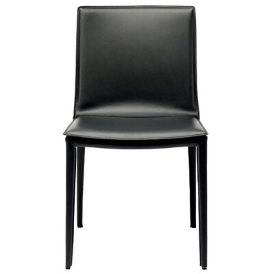 Palma Genuine Leather Upholstered Dining Chair Finish: Black