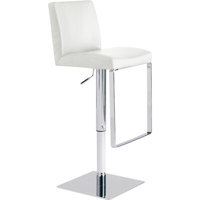Matteo Adjustable Height Swivel Bar Stool Upholstery: White