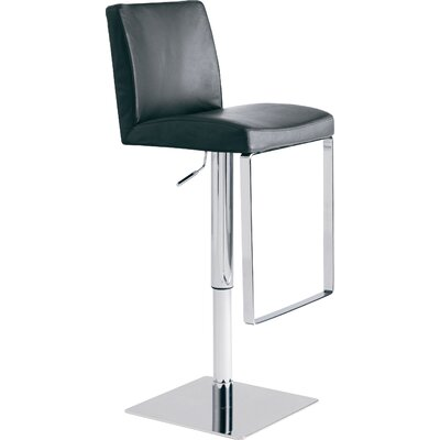 Matteo Adjustable Height Swivel Bar Stool Upholstery: Black