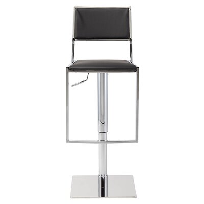 Aaron Adjustable Height Swivel Bar Stool Upholstery: Black