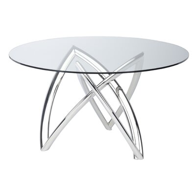 Jaryd Dining Table Base Color: Polished Silver, Size: 29.8 H x 60 W x 60 D