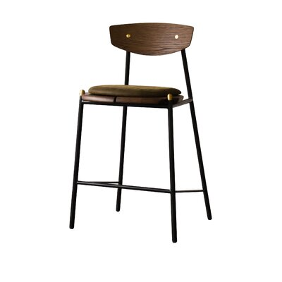 Aldo Bar Stool Upholstery: Jin Green