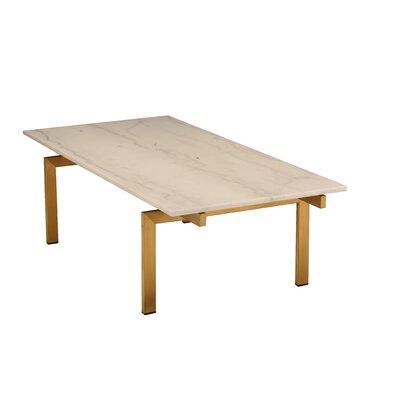 Carsten Coffee Table Table Base Color: Brushed Gold, Table Top Color: White