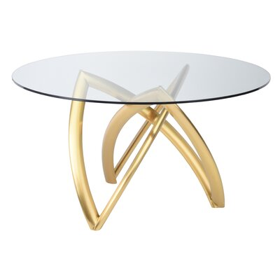 Jaryd Dining Table Base Color: Brushed Gold, Size: 29.8 H x 60 W x 60 D
