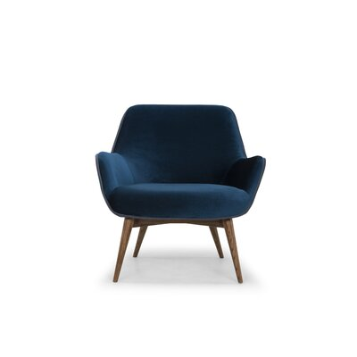 Jedediah Upholstered Armchair Upholstery: Midnight Blue, Piping: Dust Blue