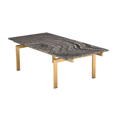 Carsten Coffee Table Table Base Color: Brushed Gold, Table Top Color: Black