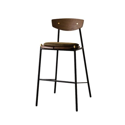 Aldo Oak Bar Stool Upholstery: Jin Green