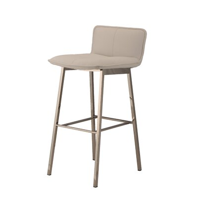 Chappelle 29.5 Bar Stool Color: Polished Silver, Upholstery: White�Naugahyde