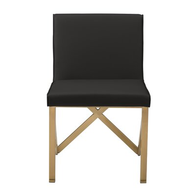 Kata Upholstered Dining Chair Leg Color: Brushed Gold, Upholstery Color: Black