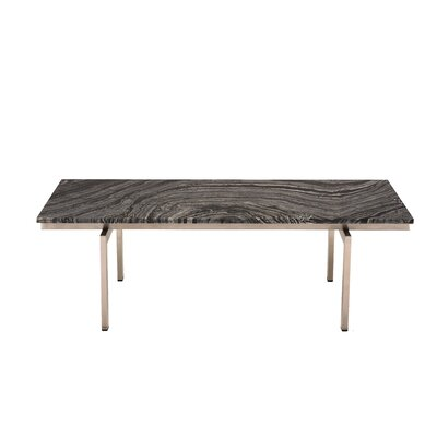 Carsten Coffee Table Table Base Color: Polished Silver, Table Top Color: Black