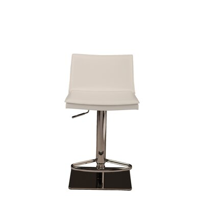Trixie Adjustable Height Bar Stool Upholstery: White