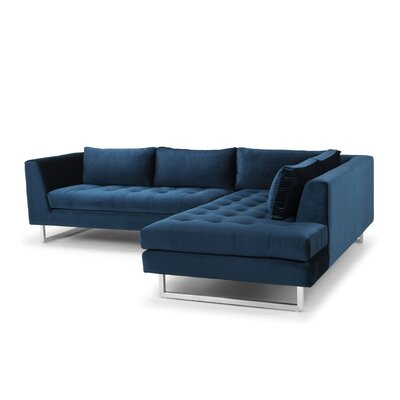 Jaquil Sectional Upholstery: Midnight Blue, Orientation: Right Hand Facing