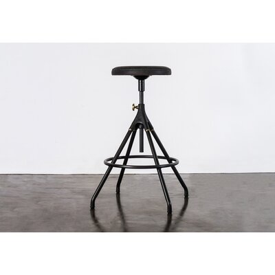 Dhrub Adjustable Height Bar Stool Upholstery: Storm Black