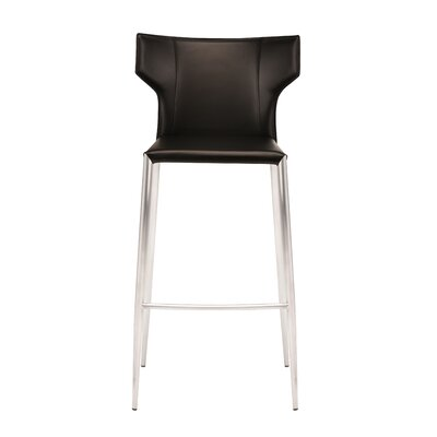 Wilfried 30 Upholstered Bar Stool Upholstery: Black